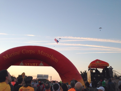 Flag being parachuted in